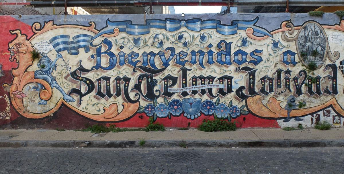 Buenos Aires mural Bienvenidos a San Telmo