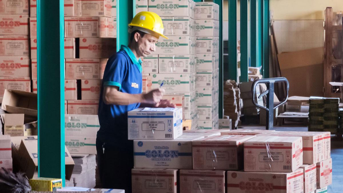 Paraguay Colon ouvrier fait cartons yerba maté