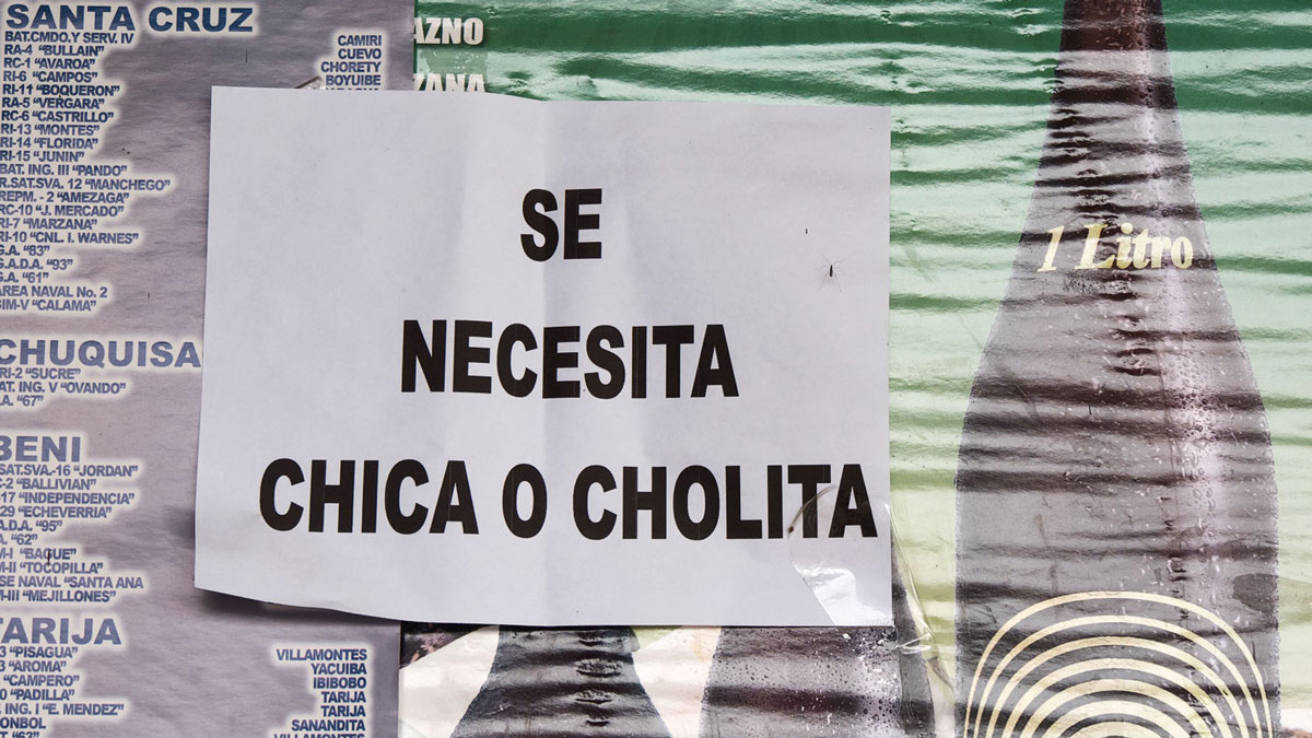 Bolivie pancarte recrutement cholita